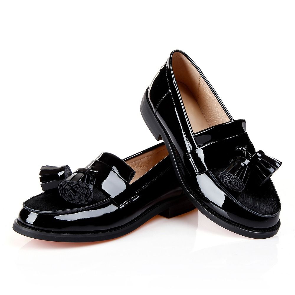 Sexy Tassel horsehair genuine Patent leather Women Black square low heels  shoe Oxford Shoes for Woman