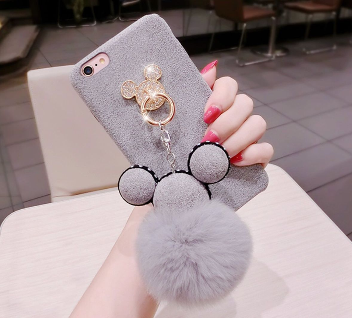 5b91e730d33 Tianyuanxuan Iphone 7/ 8 Plus Bling Silicone Case for Girls Ring Phone  Cover Non-slip Soft Shell for Iphone7/ 8 Plus Protector-Gray