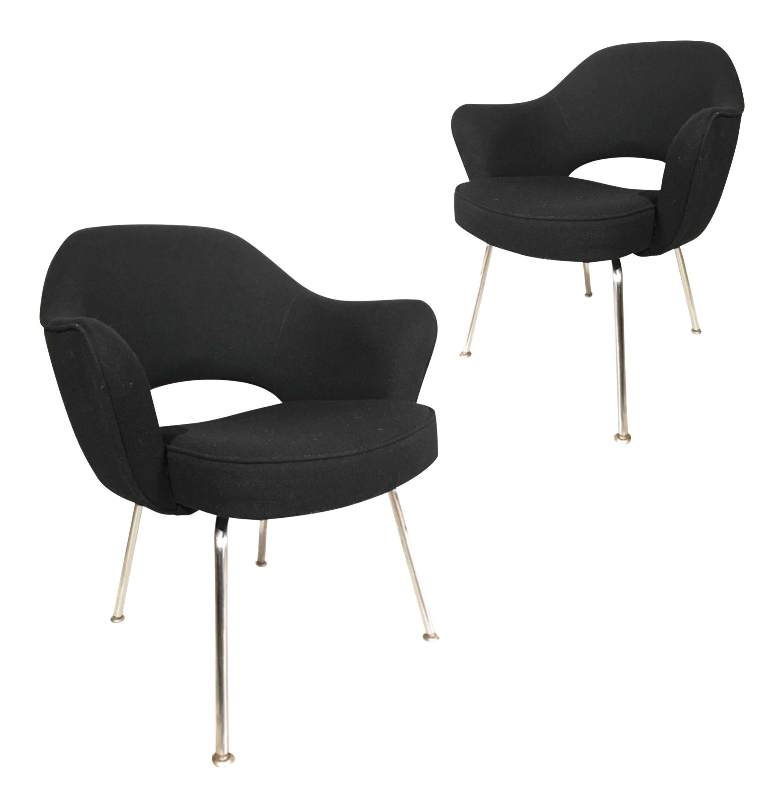 Knoll Eero Saarinen Executive Armchairs In Knoll Black Upholstery