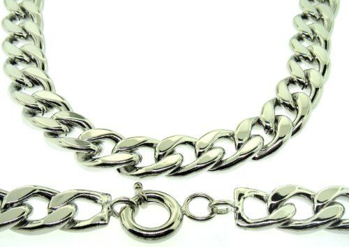 Curb Chain Necklace - Silver Plated - Men's - 20MM WIDE, 24 inch, Solid, Bling The Bling King. $39.95