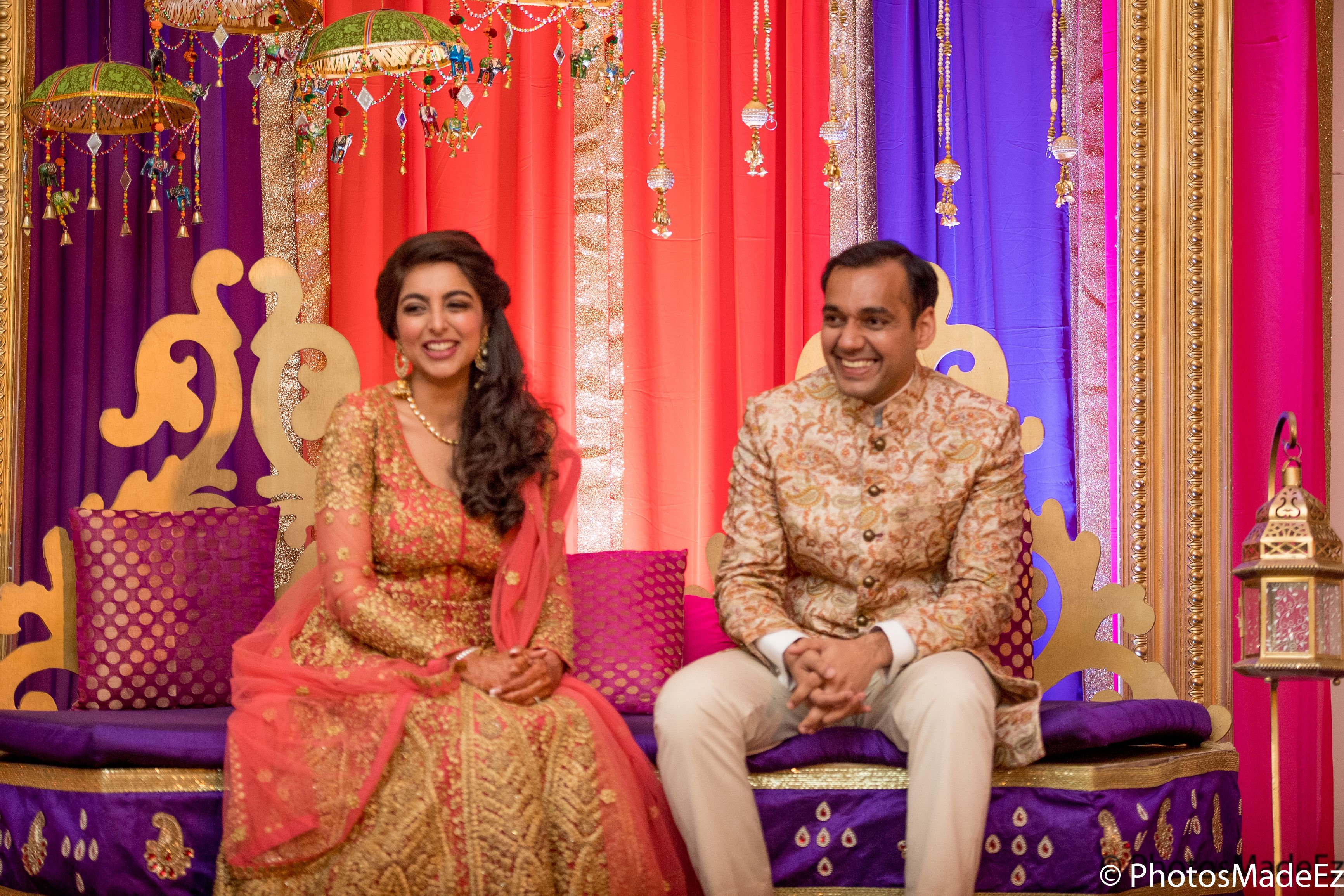 Mehndi Night : Salima and zaheed bride groom on sangeet mehndi night at royal
