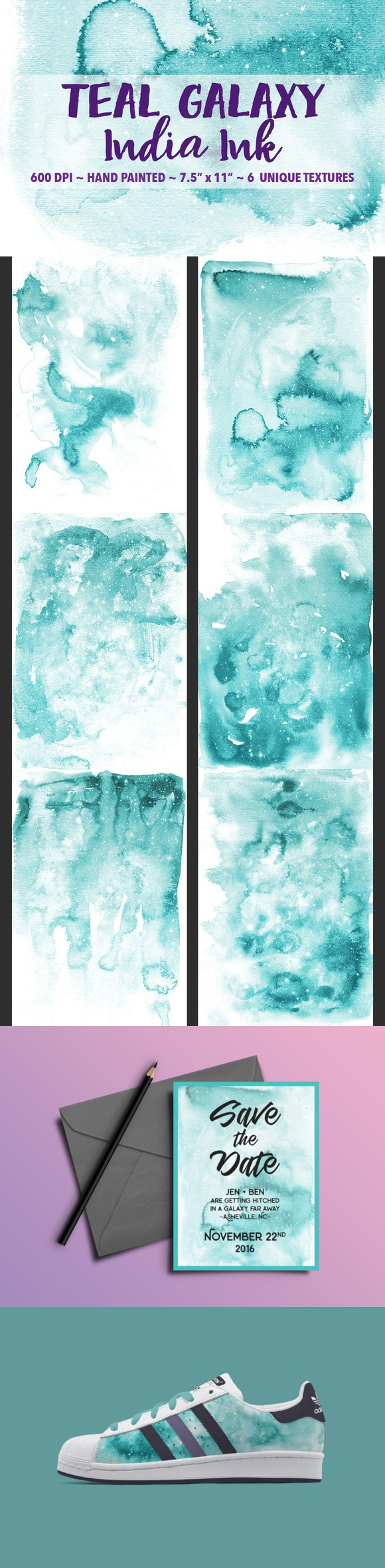 Teal Galaxy India Ink Backgrounds. Textures. $9.00