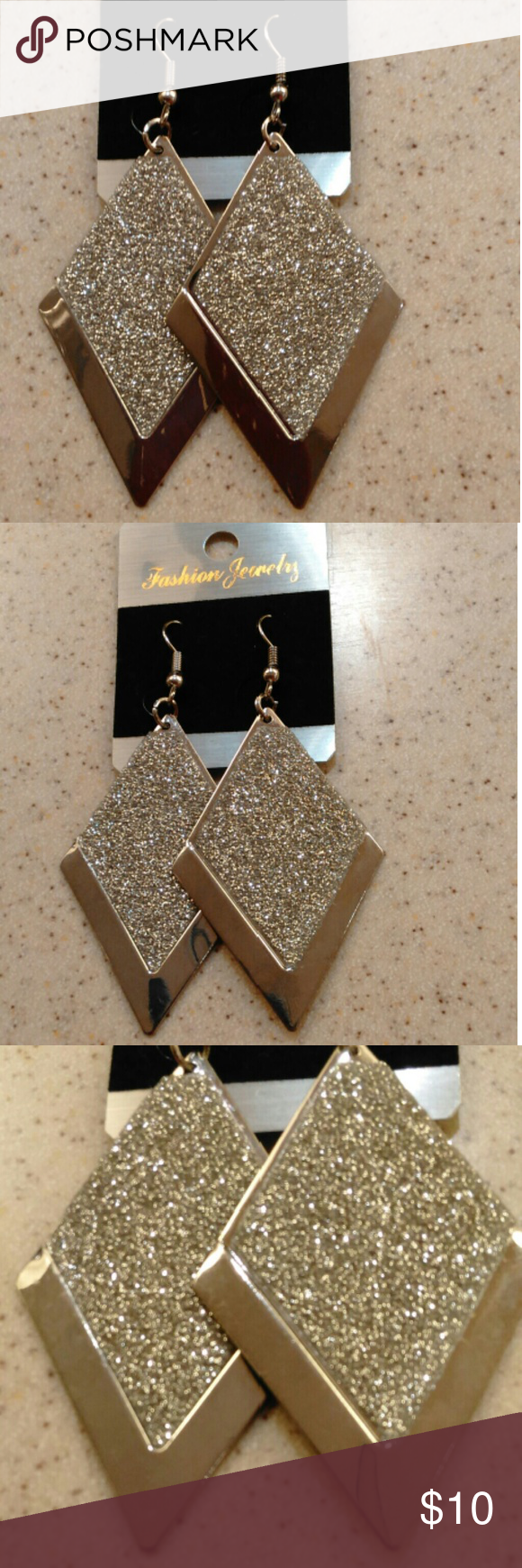 """Drop Dangle Earrings Silver Stainless Diamond Around 3""""-4"""" Silver sparkles on diamond shaped Stainless steel.  Durable & beautiful.   Items ship within 3 business days of payment.  Follow us for new listings daily.  Thank you for looking!!! Jewelry Earrings"""