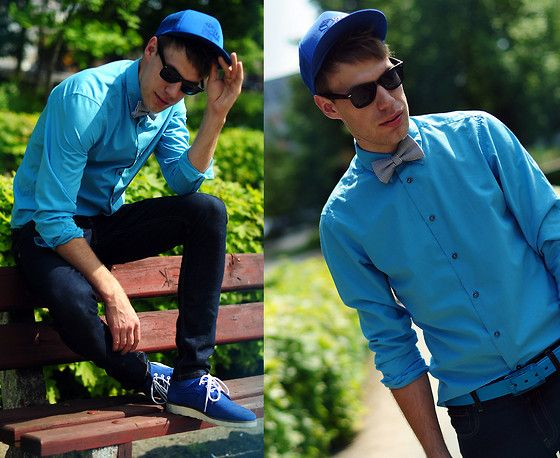 Asos Shoes, Pull & Bear Jeans, Second Hand Shirt, M Bow Bow Tie, Asos Sunglasses, House Cap
