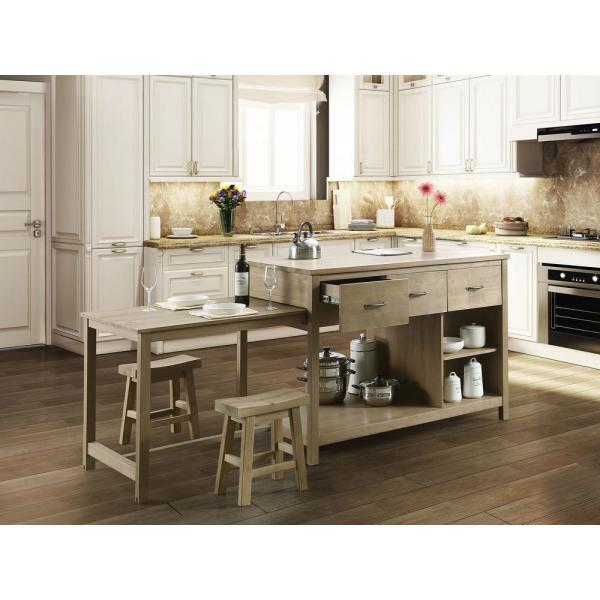 Design Element Garrett Natural Kitchen Island With Slide Out Table Kd 02 The Home Depot Freestanding Kitchen Kitchen Island Plans Narrow Kitchen Island
