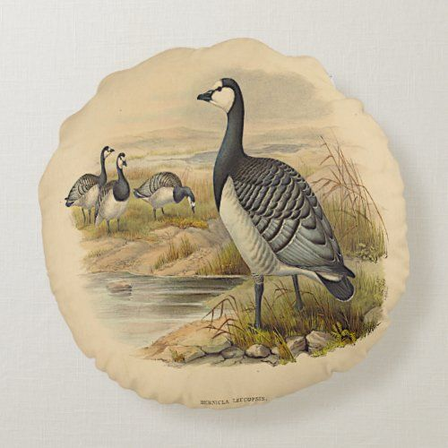 Waterfowl Grey Goose on Lake Round Pillow