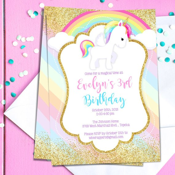 Unicorn Birthday Party Invitation TEMPLATE - Pastel Rainbow Unicorn