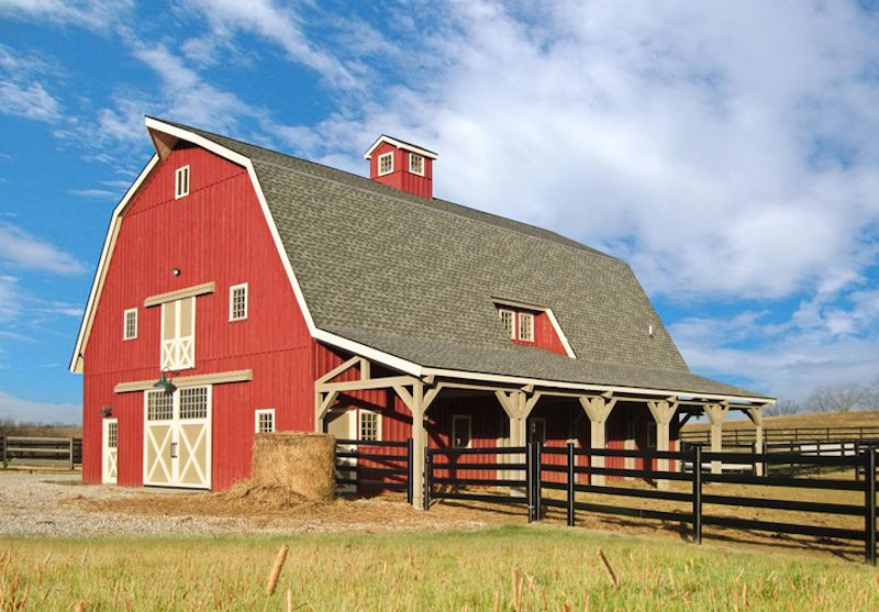 This 40 60 great plains gambrel barn from sand creek post for Gambrel roof pole barn kits