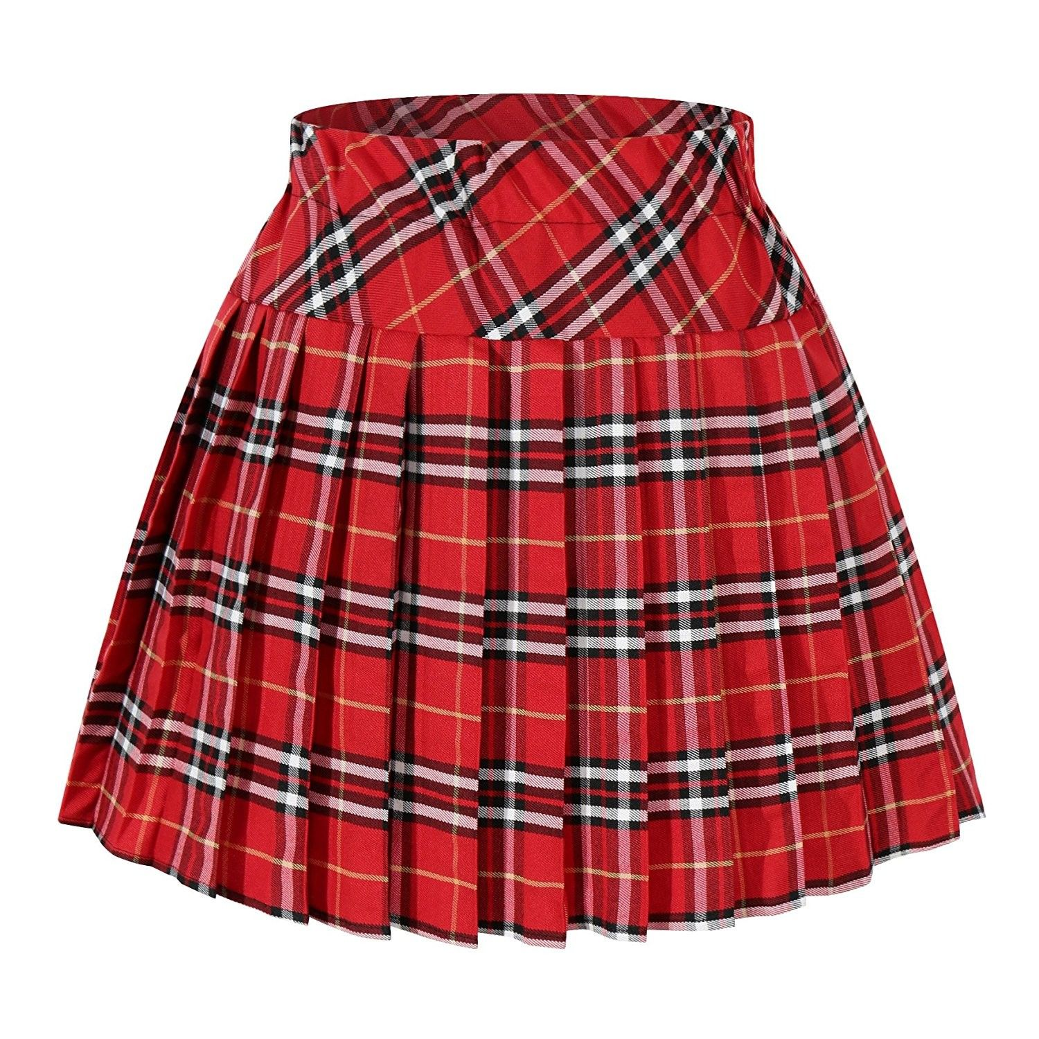 eba557d454 Women`s Short Plaid Elasticated Pleated Skirt School Uniform - Red Mixed  White - C91222CZTA5,Women's Clothing, Skirts #women #clothing #fashion  #style #sexy ...