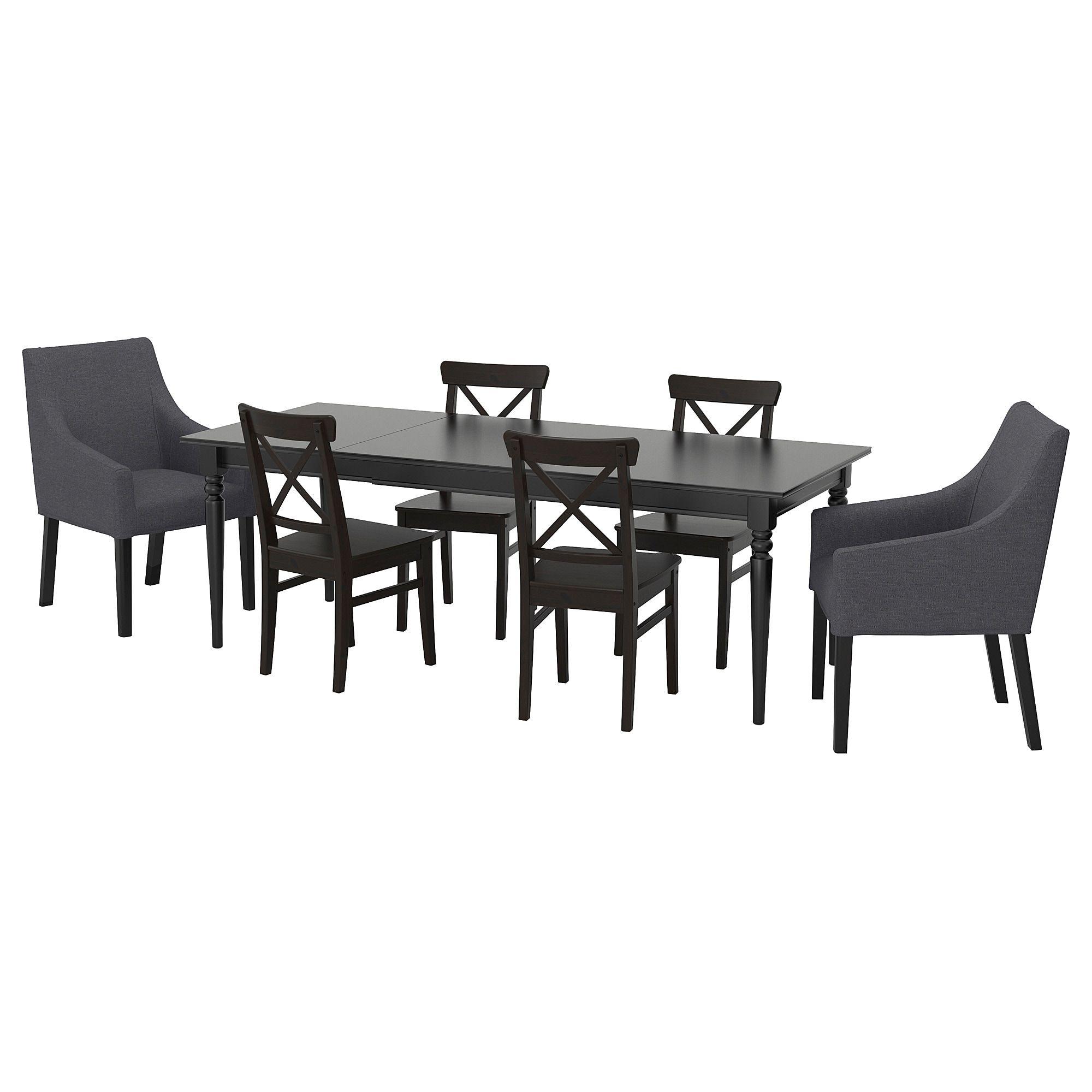 Ingatorp Ingolf Tisch Und 6 Stuhle Schwarz Sporda Dunkelgrau