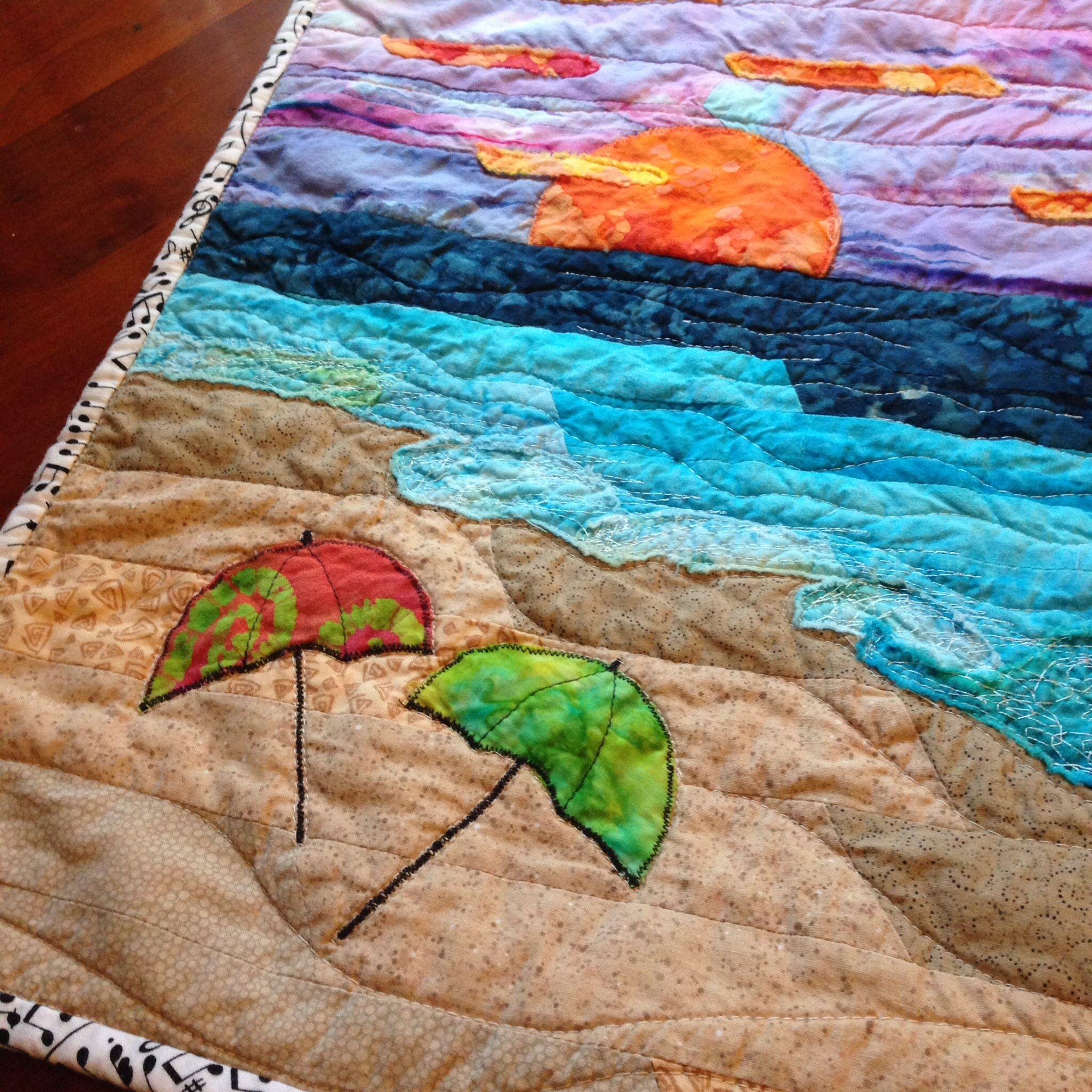 modern art quilt appliqu beach sunset that 39 s my kind of meditating art quilts pinterest. Black Bedroom Furniture Sets. Home Design Ideas