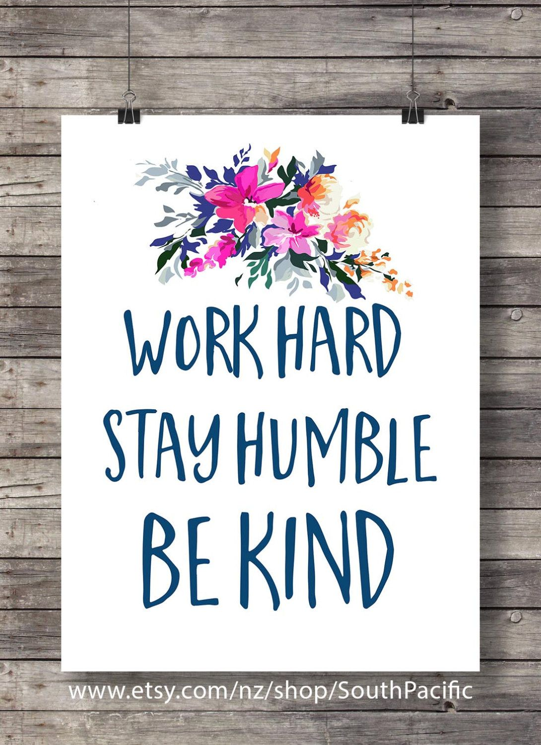 Watercolor Work Hard Stay Humble Pink Canvas Art Sign