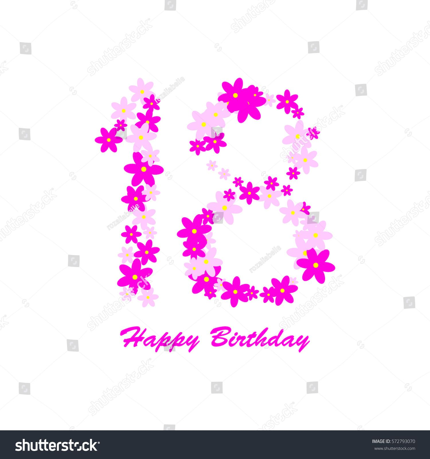 Happy birthday pink and purple flowers on a white background 18 happy birthday pink and purple flowers on a white background 18 years izmirmasajfo