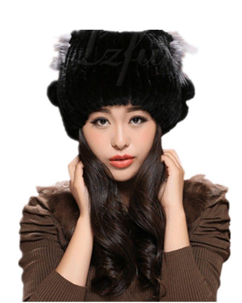 c6fc5ee3583 H902-wholesale-natural rex rabbit fur black white gray brown winter  excellent hat for female
