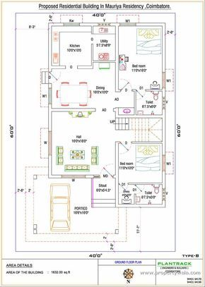 Duplex house plan for North facing Plot 22 feet by 30 feet 2 30x40 on