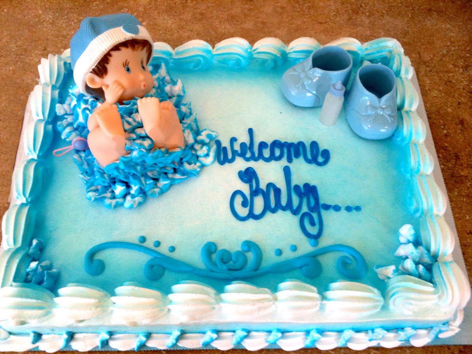 Baby Shower Sheet Cakes | Hectors Custom Cakes: Boy Baby Shower ...