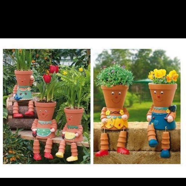 Clay Pot Dolls: Neat Doll Flower Pots I Think This Would Be A Great Kids
