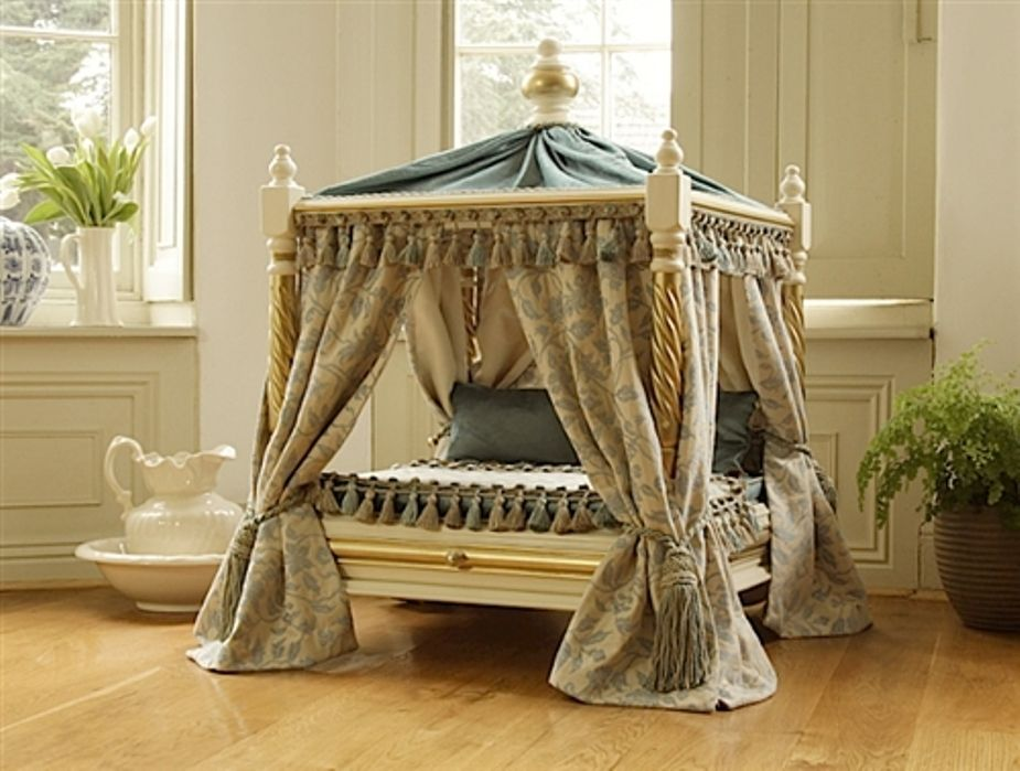 Dog Beds For Small Dogs Made From Upside Down End Tables Or Night Stands Add Some Finials Dow Rods And Fabri Fancy Dog Beds Luxury Pet Beds Dog Canopy Bed