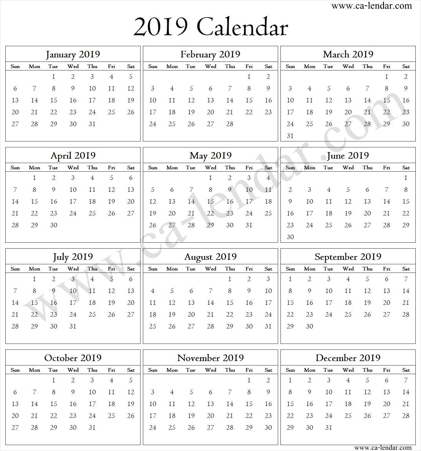 Blank 2019 Calendar Template Calendar 2019 Template Calendar