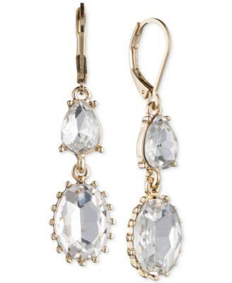 Nine West Gold-Tone Crystal Double Drop Earrings