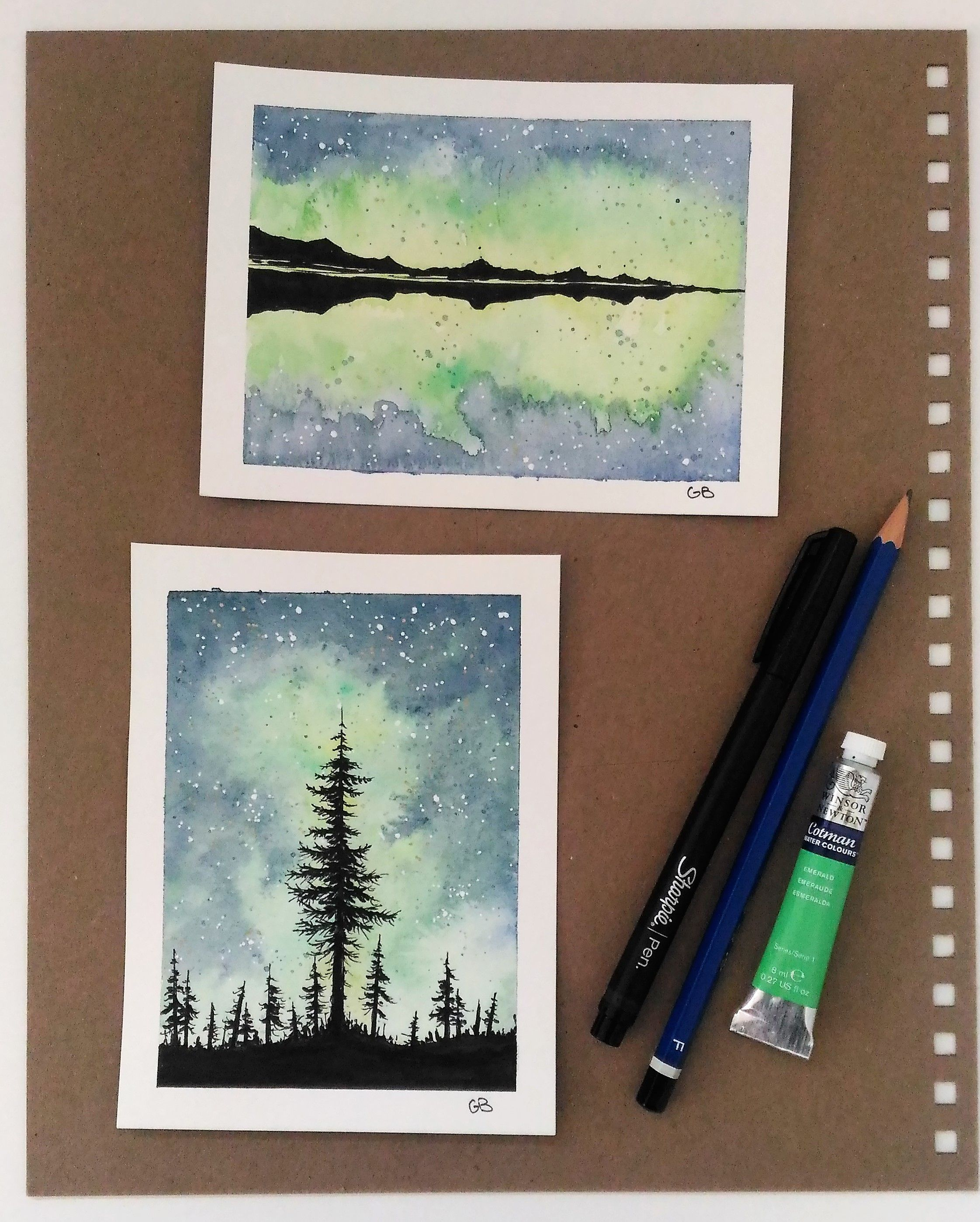 Ink And Watercolor Painting Of Northern Lights Somewhere In Canada