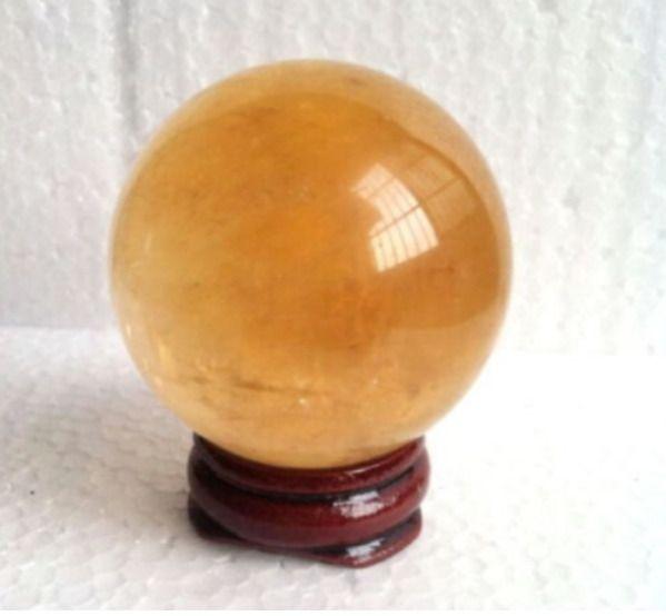 $2 6 - 35-40Mm Citrine Calcite Quartz Crystal Sphere Ball
