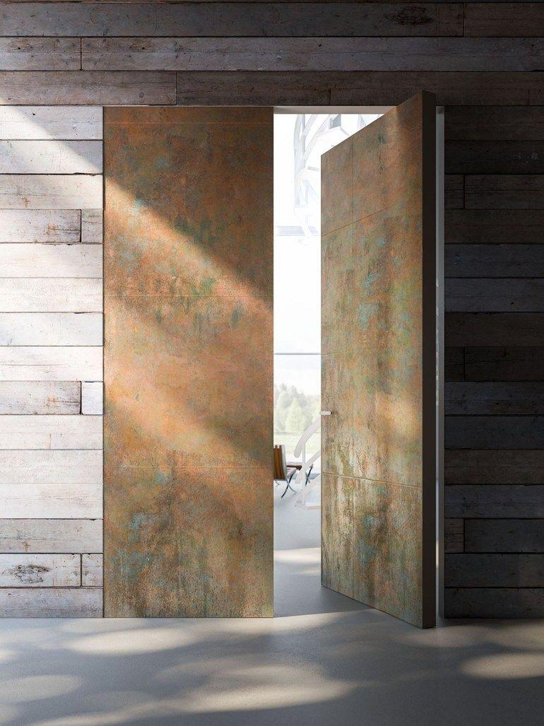 Linvisibileverticalpivotdoor Filo10version Copperandmarblestonefinish Penthouse Boston Usa Invisibledoors Pivot Doors Front Doors With Windows Door Design