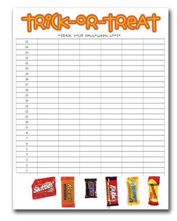 Track-Your-Loot  Free Educational Trick-or-Treat Printable for - printable sign up sheets