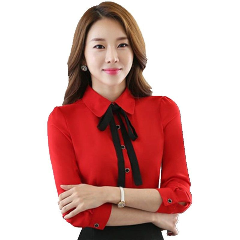 841a495559 Click to Buy << 2017 Fashion Female Formal Ladies Red Blouses Women Shirts  Long Sleeve Office Uniform Blouse and Tops Female OL Style CM833 #Affiliate
