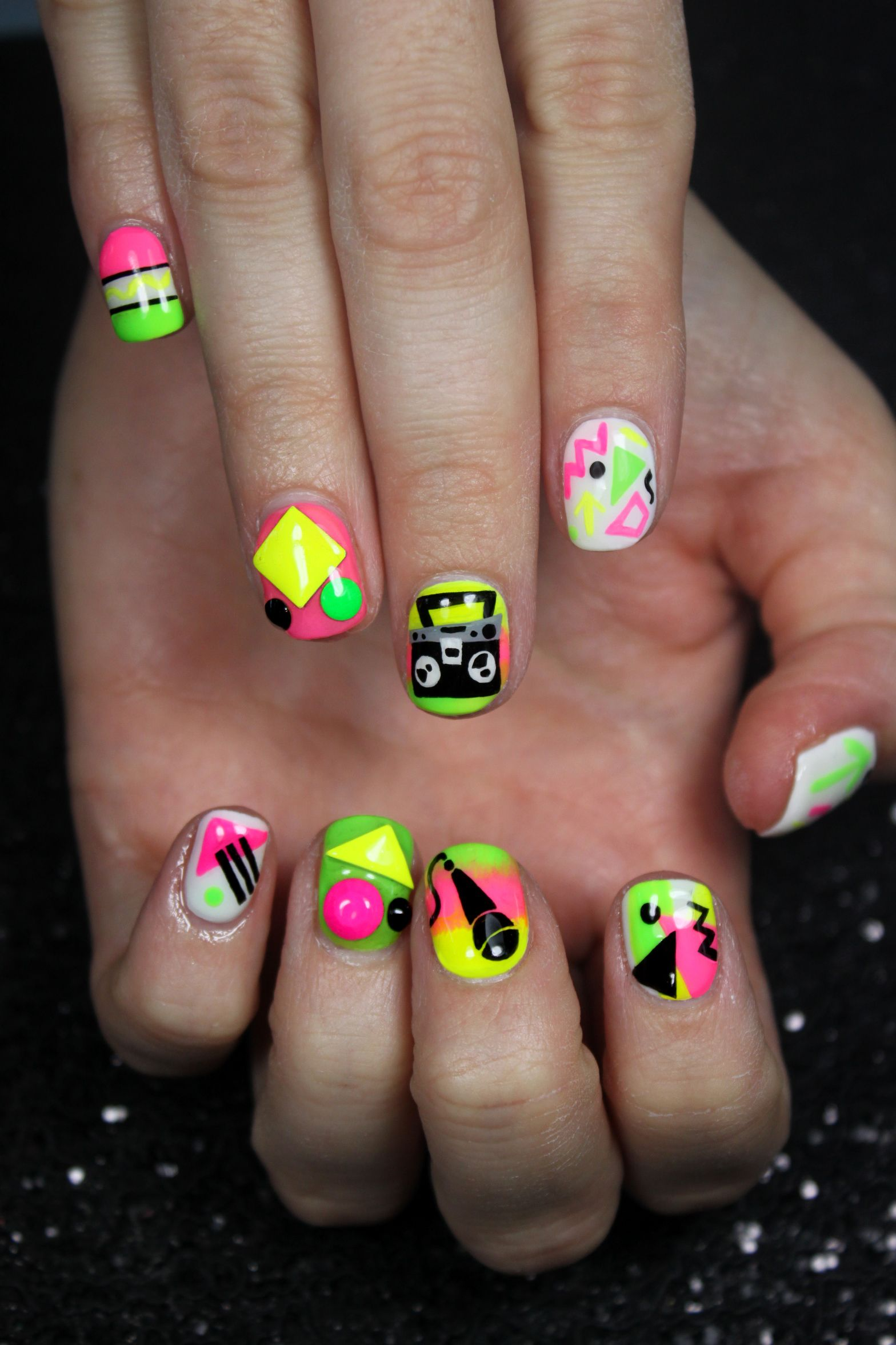 Lexi Neon Nail Art By Nail Art Gallery Pinterest Top Nail