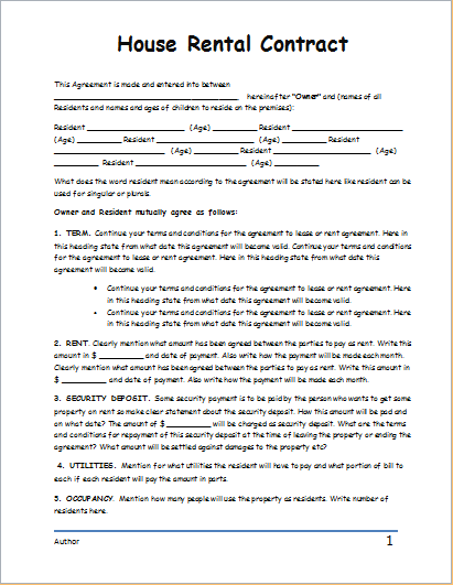 House Rental Contract House Rental Rental Agreement Templates Rental