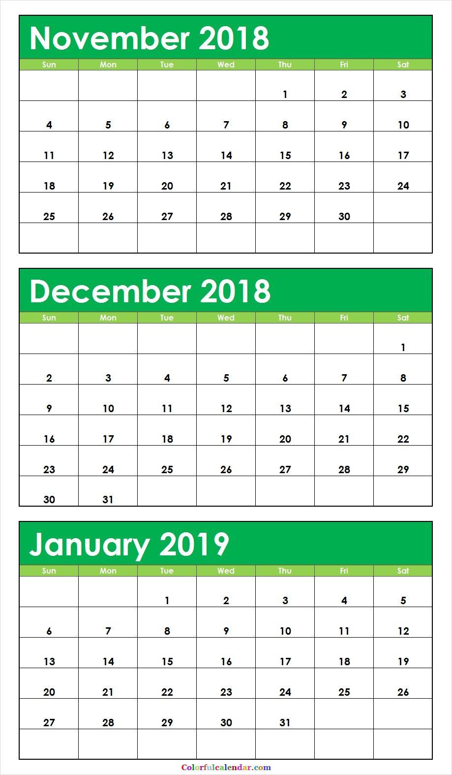 November December 2019 Monthly Calendar 3 Month November December 2018 January 2019 Calendar Green