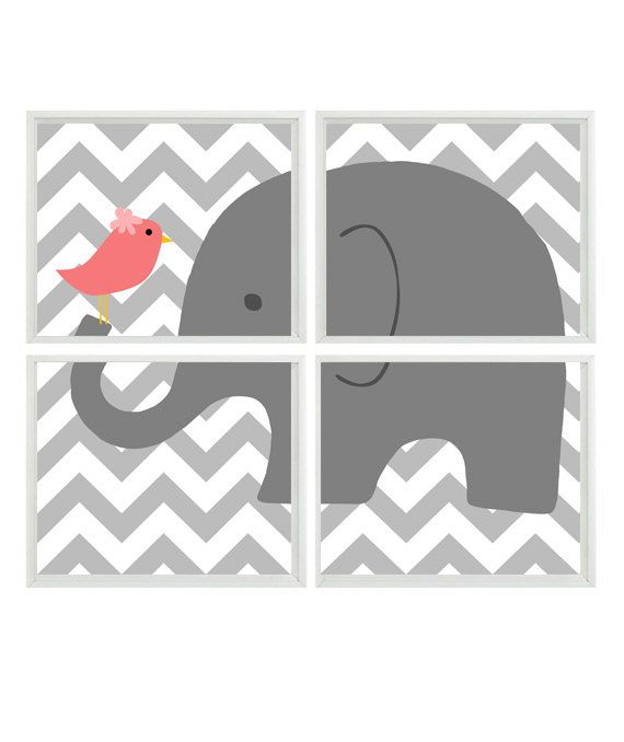 Elephant Nursery Art Chevron Bird - Gray Coral Pink - Print Set Of 4 8x10  - Decor on Etsy, $50.00 or you could just do it yourself