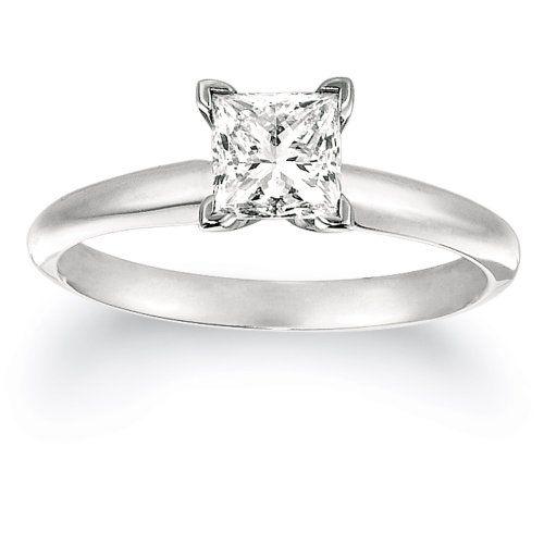 Certified Platinum Princess-Cut Solitaire Diamond Engagement Ring (1 cttw, G-H Color, VS2 Clarity), Size 7 $7,940.00