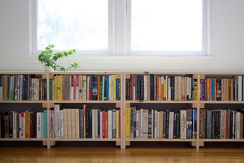 Perfect Cool Simple Nice Compact Under Window Bookcase With Small Wooden Made Concept And Has Two