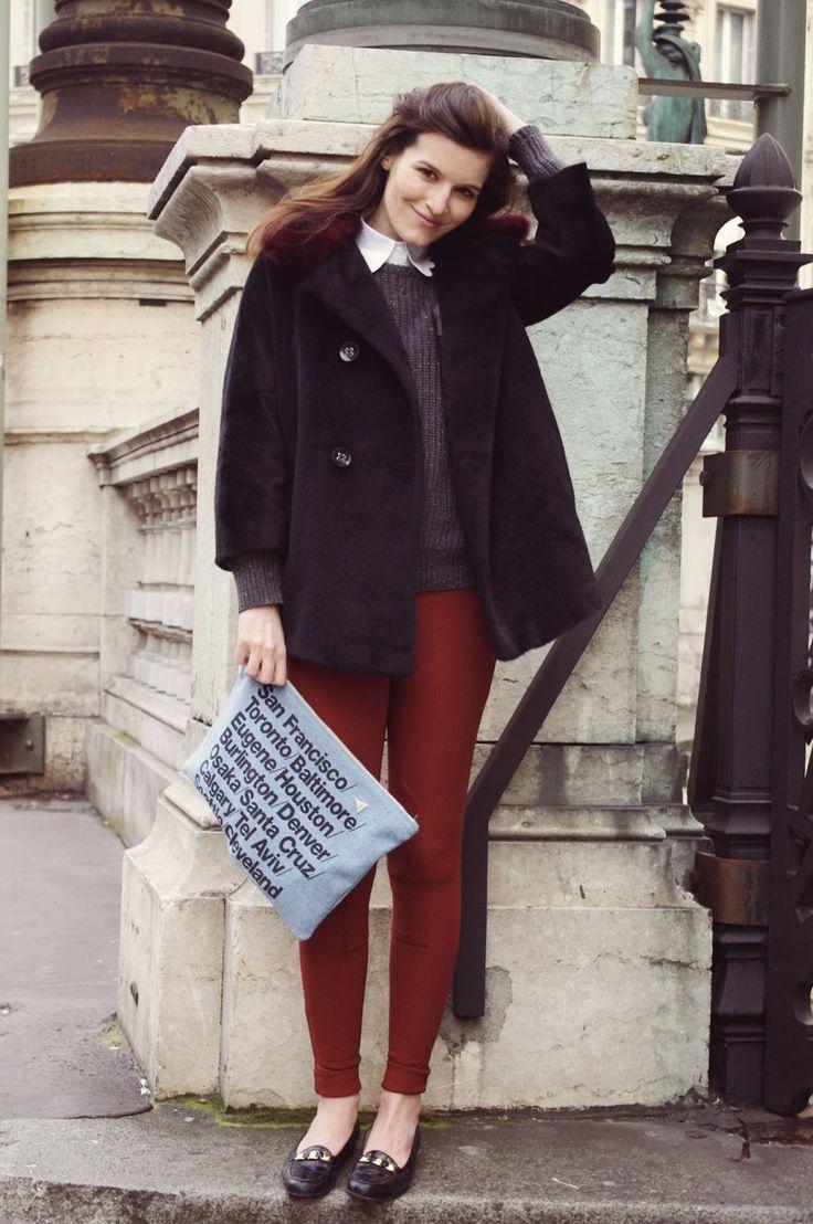 Women's Black Fur Coat, Charcoal Crew-neck Sweater, White Dress ...