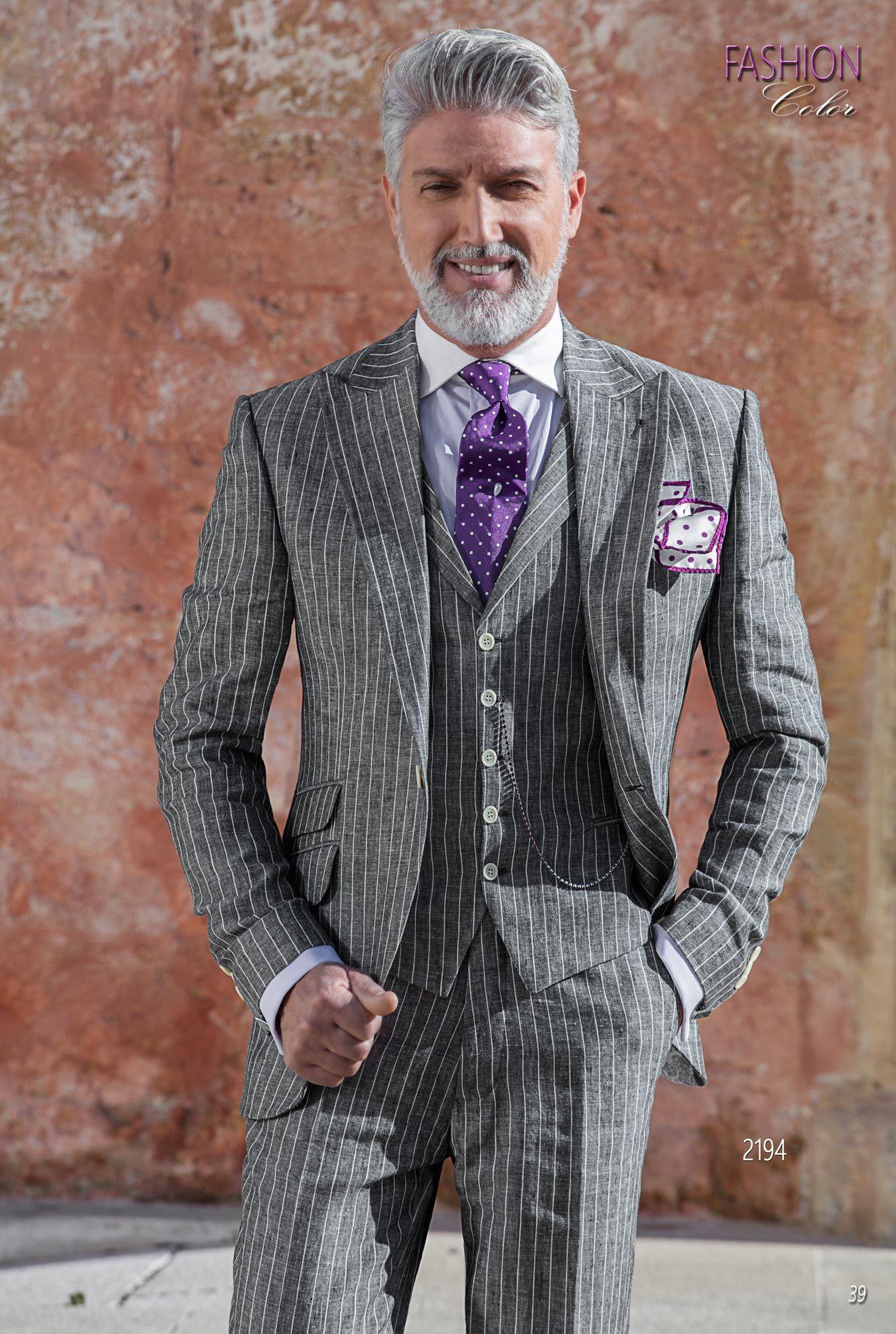 Abito Uomo Matrimonio Lino : Abito sposo moda fashion riga diplomatica gessata lino grigio