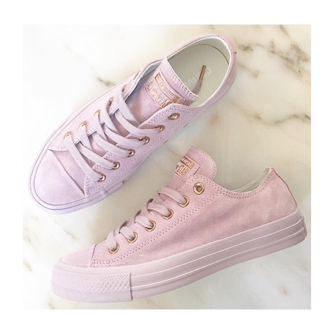 pink converse shoes suede