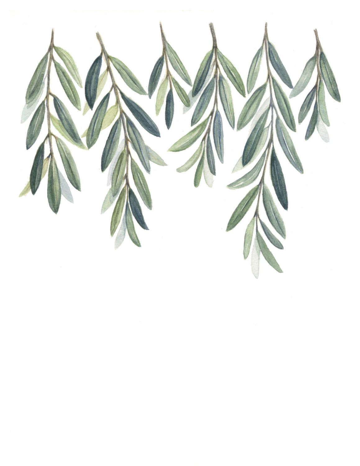 Olive Branches Art Print Olive Branch Leaves Painting Greenery Painting Green Branches Greenery Home Decor Print Art Olive Branch Art Branch Art Painted Leaves