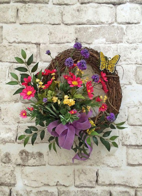 Erfly Summer Wreath Silk Fl Front Door Grapevine Outdoor Yellow Pink Purple For