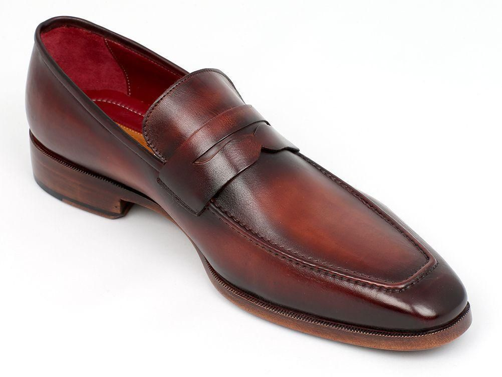 435a3c400ad Paul Parkman Men s Penny Loafer Bordeaux and Brown Calfskin (ID 10FD61)
