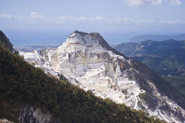 Michelangelo came here to select marble for his sculptures.  Quarry in Carrara, Italy by Alfred Weidinger, via Flickr