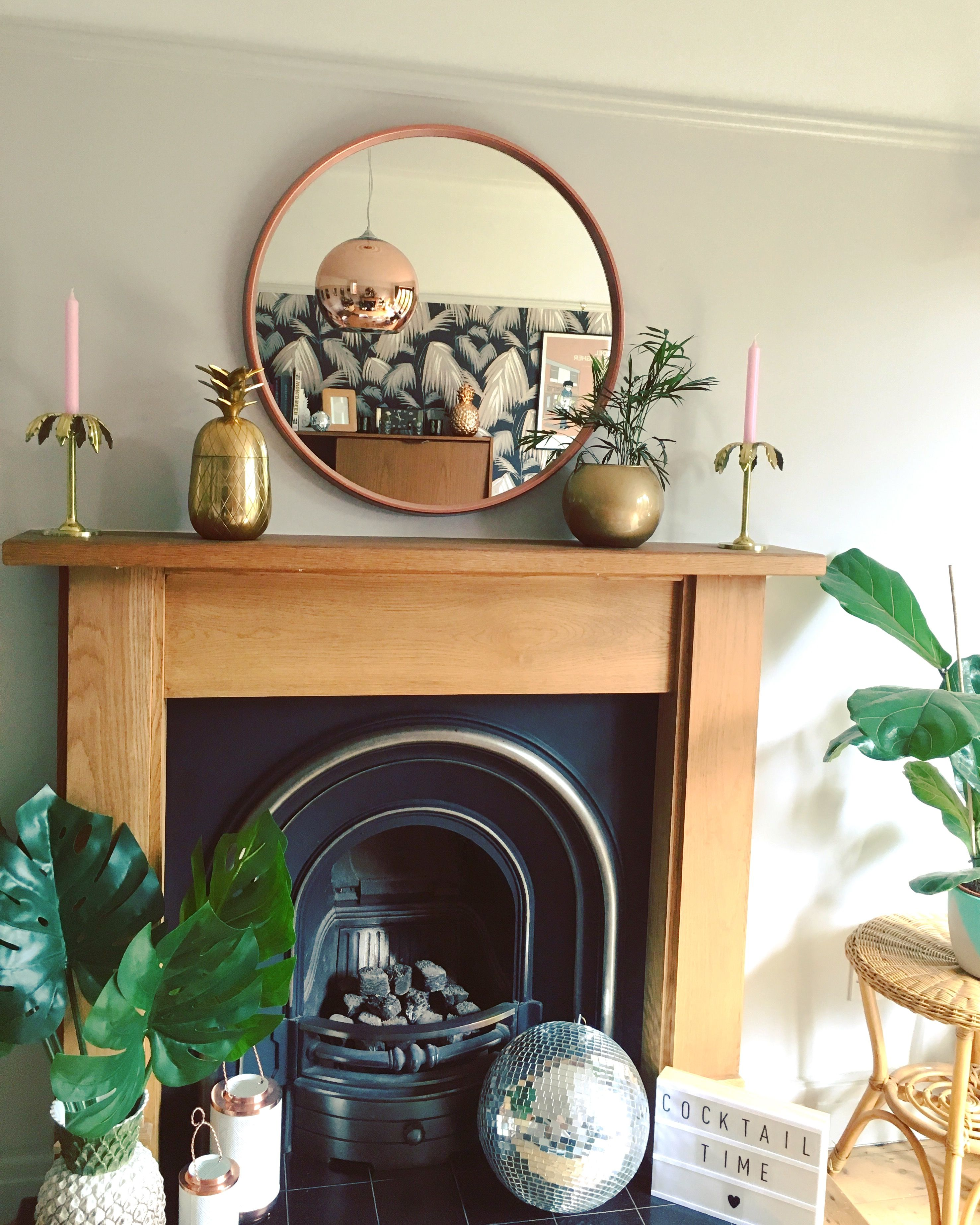 Diy Metallic Mirrors Mirror Over Fireplace Copper Dining Room Dining Room Fireplace