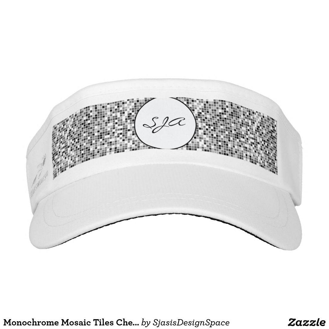 Monochrome Mosaic Tiles Checks Design Sun Visor Headsweats Visors