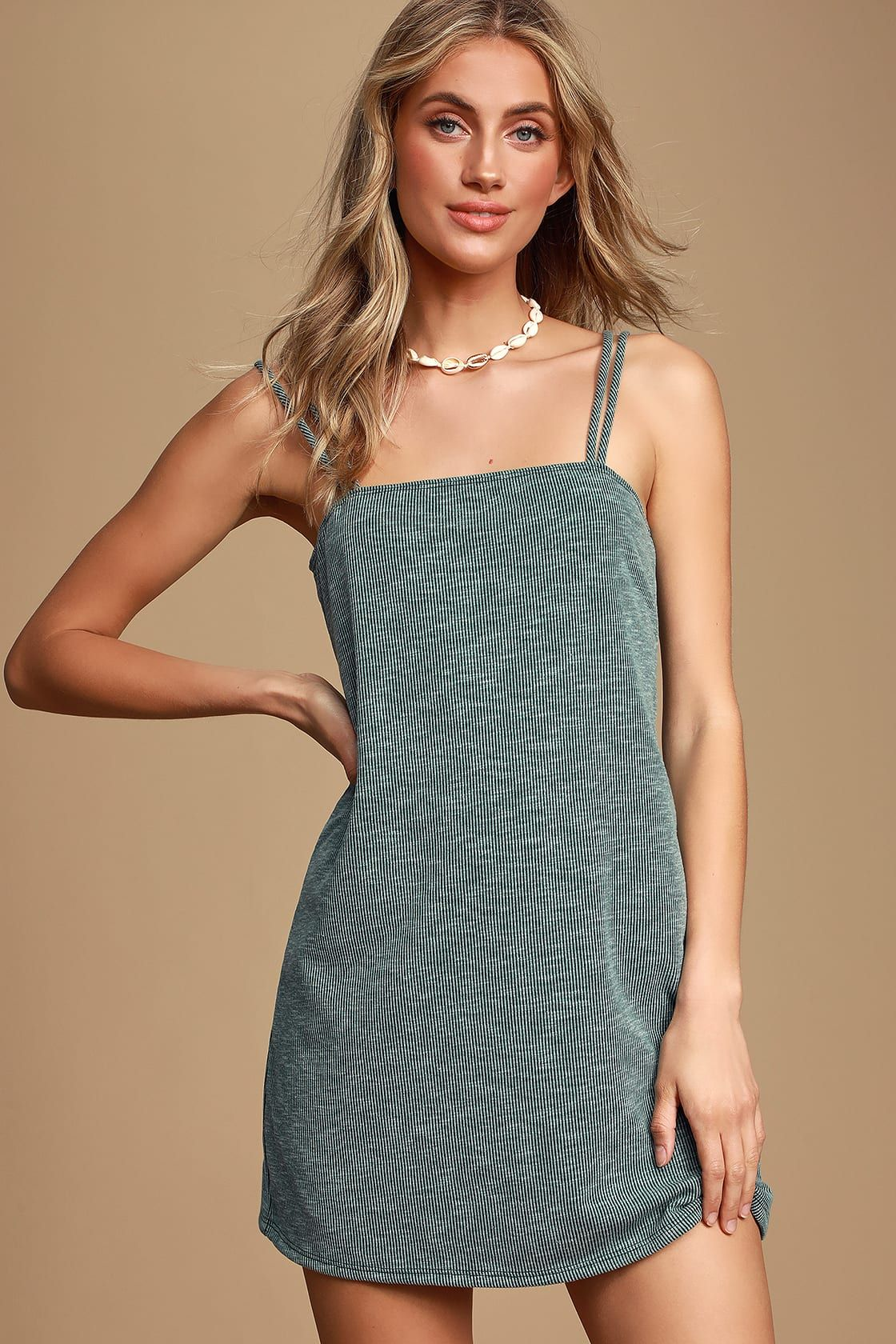 Lulus | Aberdeen Sage Green Ribbed Strappy Sheath Dress | Size Large #sagegreendress
