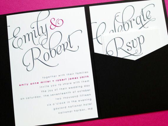 Wedding Invitation, Wedding Invites, Pocket Invitation, Pocketfold
