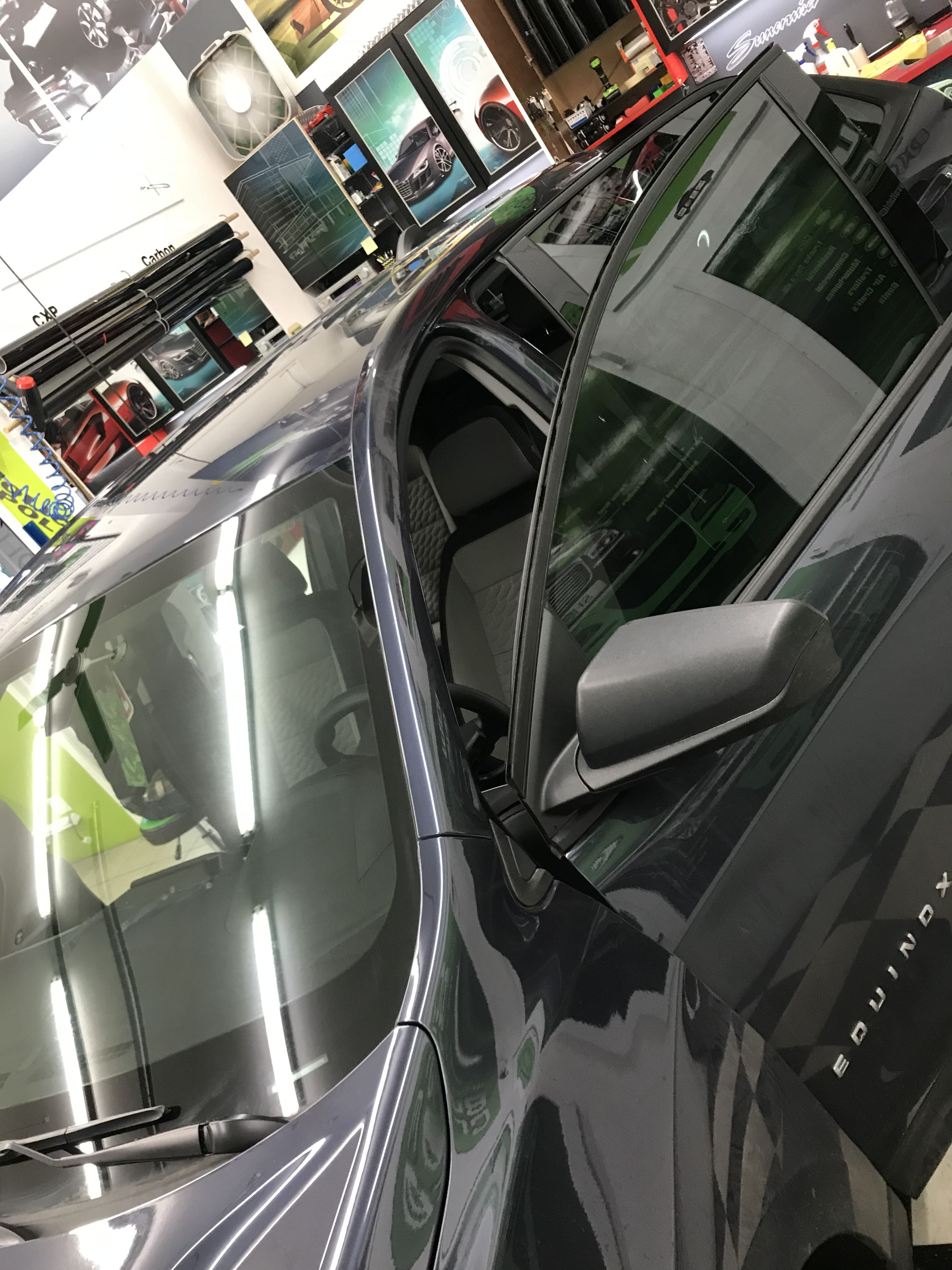 This Chevy Equinox Go The Best Package That The Spokane Shop Offers We Installed The Mind Blowing Windshield Tinting Tinted Windows Commercial Window Tinting