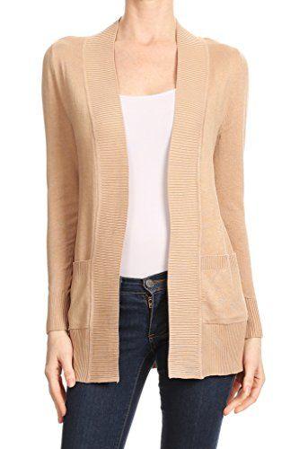 8e1dd5382b Women s Open Front Long Sleeve Cardigan Sweater with Side Pockets ...