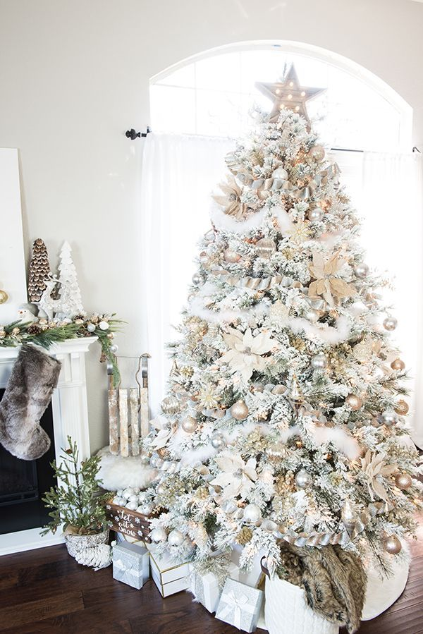 Gold And Silver Winter Wonderland Tree Silver Christmas Tree Gold Christmas Tree Flocked Christmas Trees