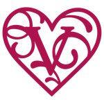 heart flourish monogram v